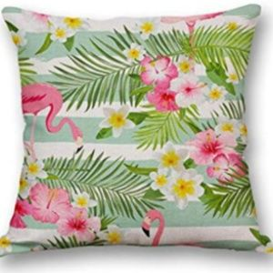 "Accents - NEW FLAMINGO STRIPED 18x18"" PILLOW CASE"